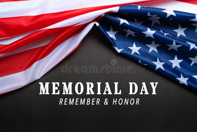 美国纪念日与独立日概念,黑色背景上的美国国旗 免版税库存照片