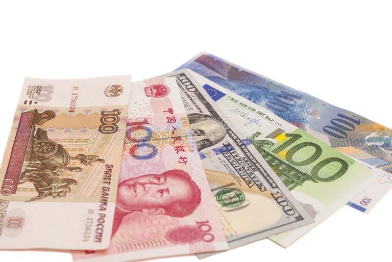 美国美元、欧洲欧元、瑞士法郎、中国元和鲁斯 免版税库存照片
