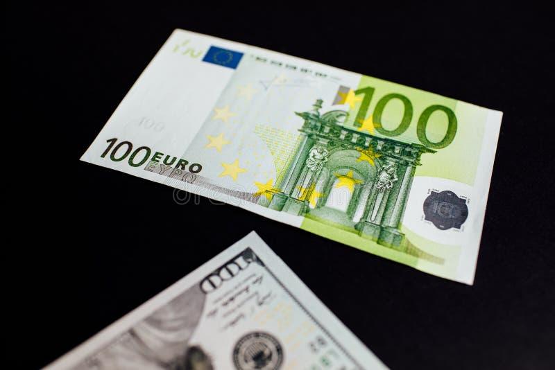 美国美元和欧元特写镜头  免版税图库摄影