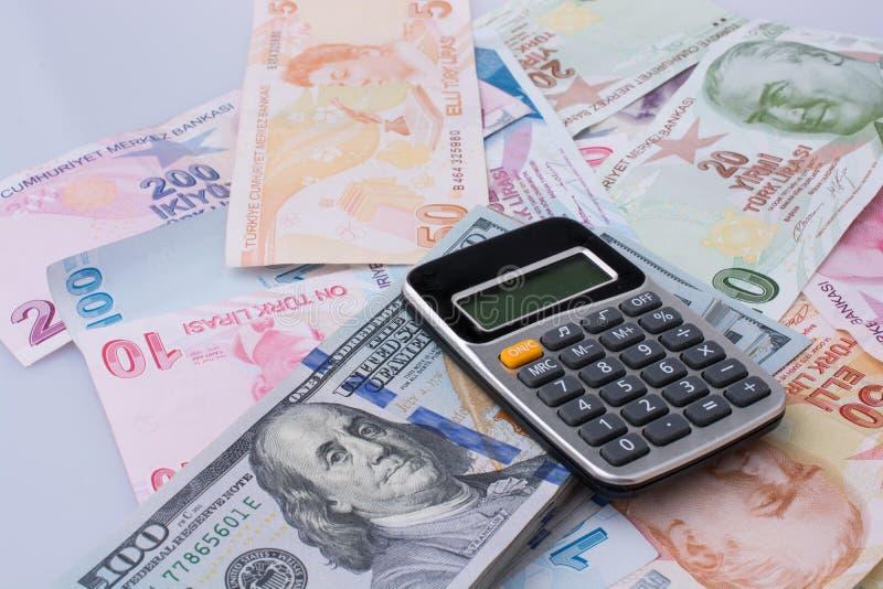 美国美元钞票和Turksh里拉钞票由sid支持 库存图片