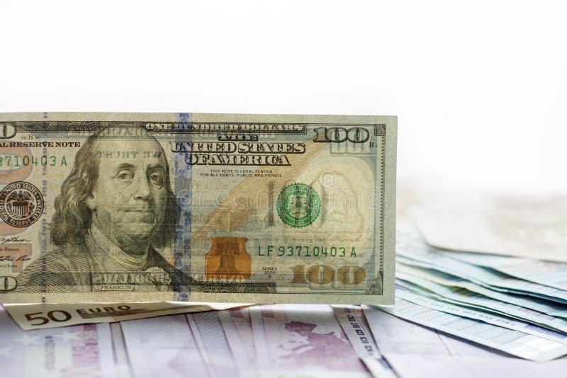美国美元钞票和Turksh里拉 图库摄影