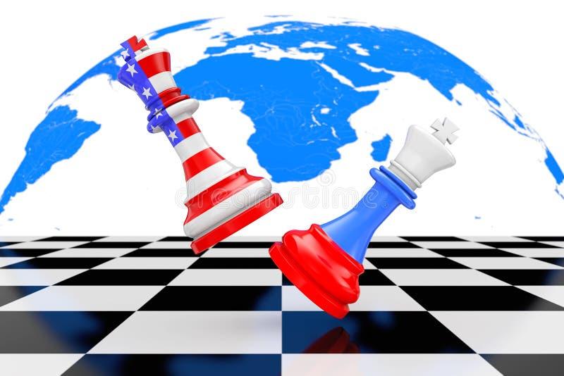 美国美国和俄罗斯Chess Fighting国王在棋盘的 3 向量例证