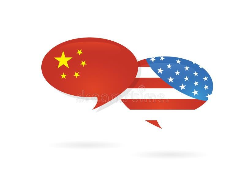 美国美国和在光滑的讲话的中国旗子起泡 美国和中国贸易关系,合作战略 皇族释放例证