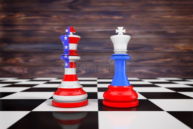 美国美国和在Chess国王的俄罗斯旗子在棋盘 3 库存例证