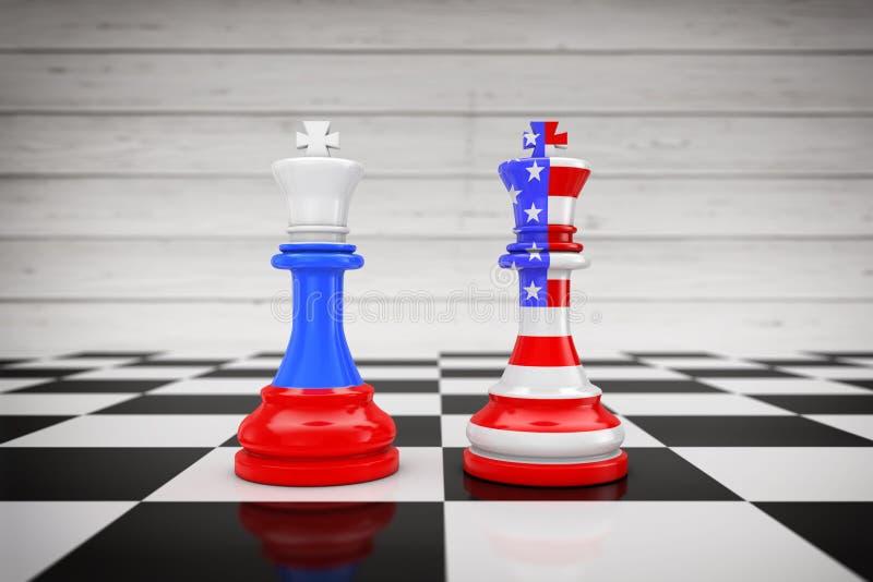 美国美国和在Chess国王的俄罗斯旗子在棋盘 3 皇族释放例证