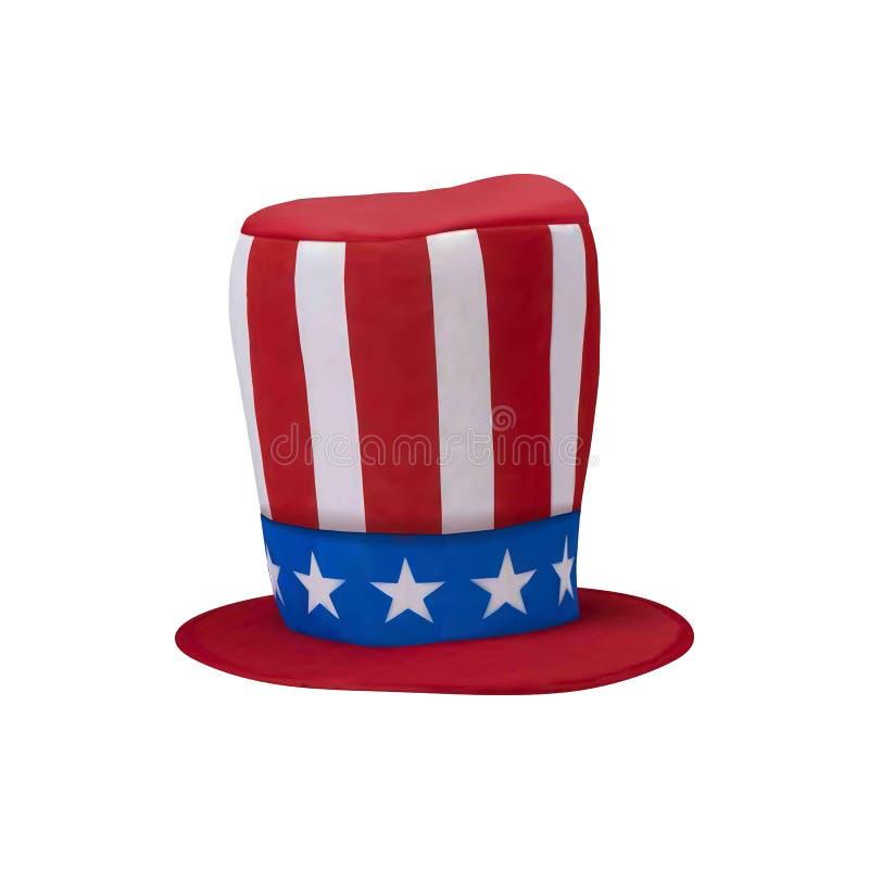 美国美国旗子和帽子有烟花背景为7月第4 r Eps10?? 库存照片