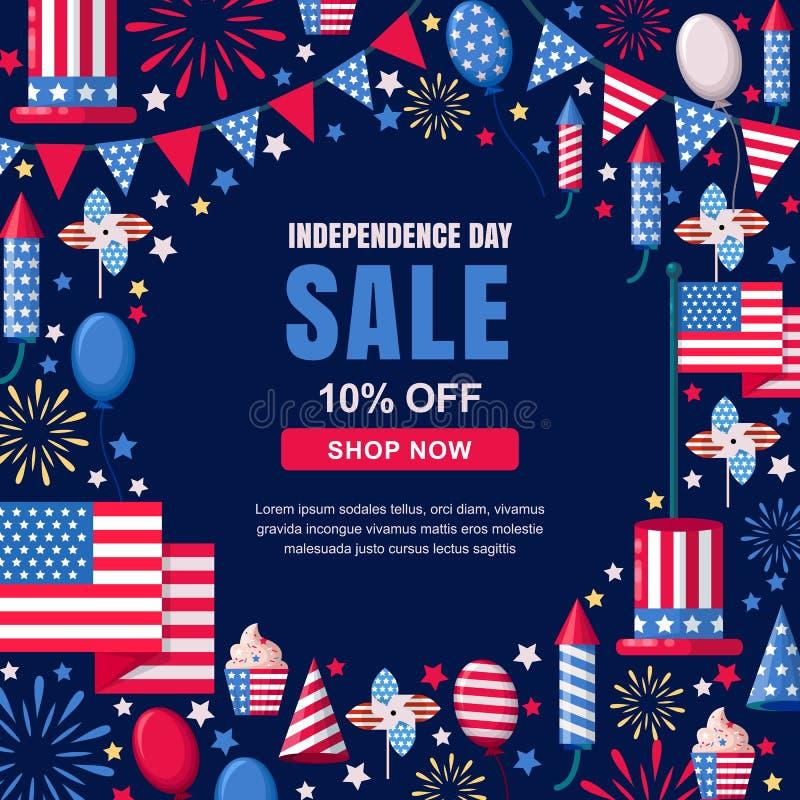 美国美国独立日销售传染媒介横幅模板 假日海军框架背景 4 7月庆祝概念 向量例证