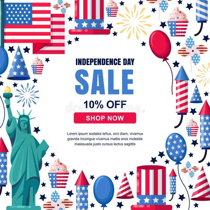 美国美国独立日销售传染媒介横幅模板 假日白色框架背景 4 7月庆祝概念 皇族释放例证