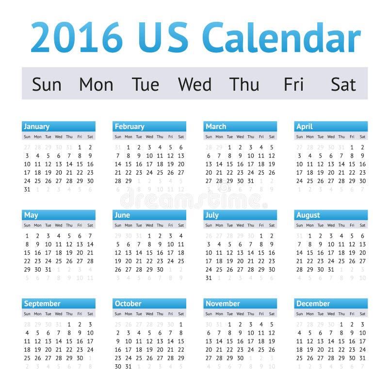 2016美国美国英语日历 在星期天,星期起始时间 图库摄影