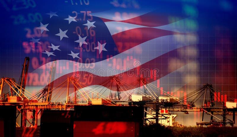 美国美国贸易战经济冲突税企业财务/美国股票市场交换图表图金钱危机上升了 库存图片