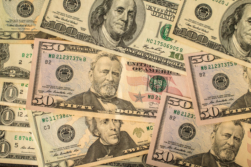 美国美金背景 库存图片
