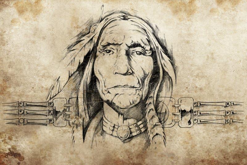 美国老人印地安人草图 皇族释放例证