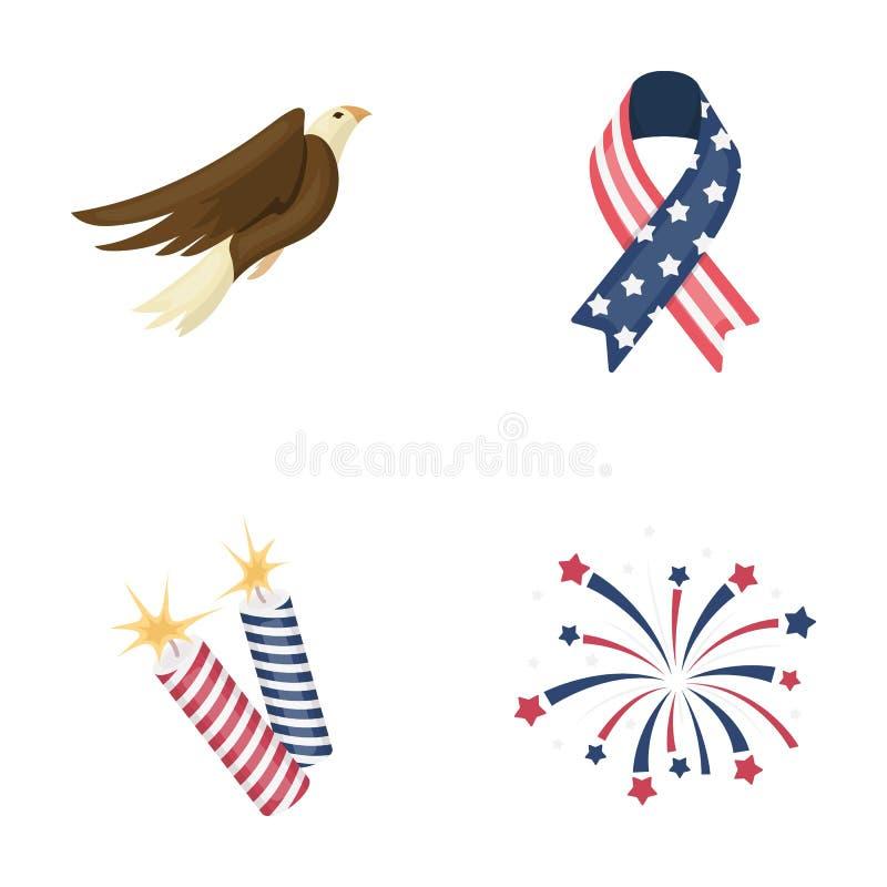 美国老鹰,丝带,致敬 在动画片样式的爱国者` s天集合汇集象导航标志储蓄例证 向量例证