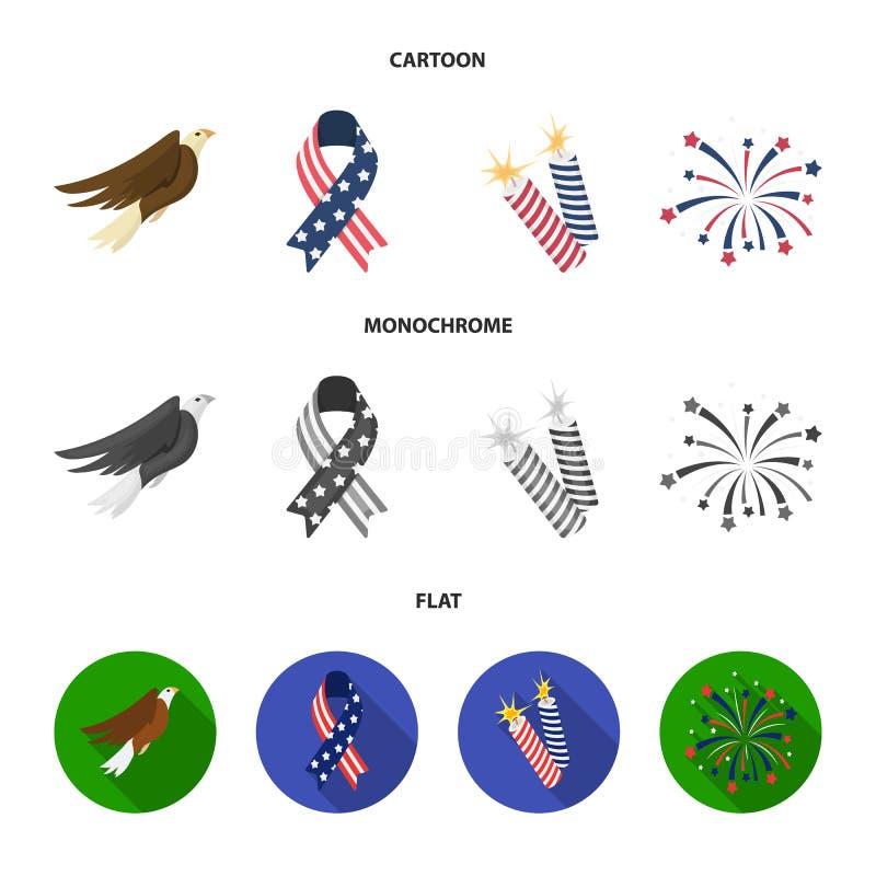 美国老鹰,丝带,致敬 在动画片,平,单色样式传染媒介标志的爱国者天集合汇集象 库存例证