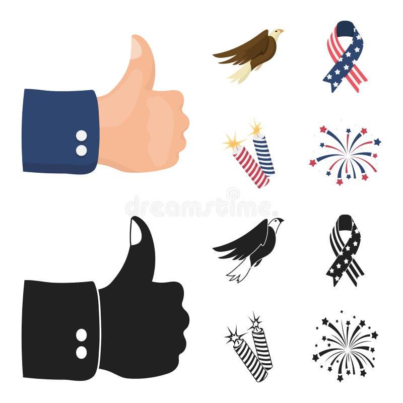 美国老鹰,丝带,致敬 在动画片,黑样式传染媒介标志股票的爱国者天集合汇集象 皇族释放例证