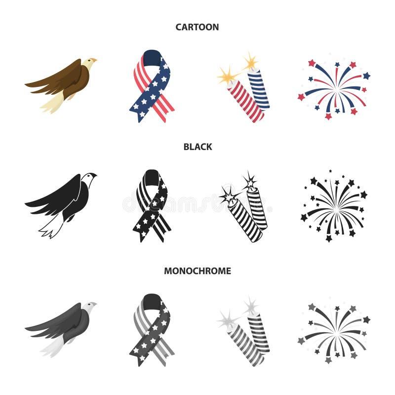 美国老鹰,丝带,致敬 在动画片,黑色,单色样式传染媒介标志的爱国者天集合汇集象 库存例证