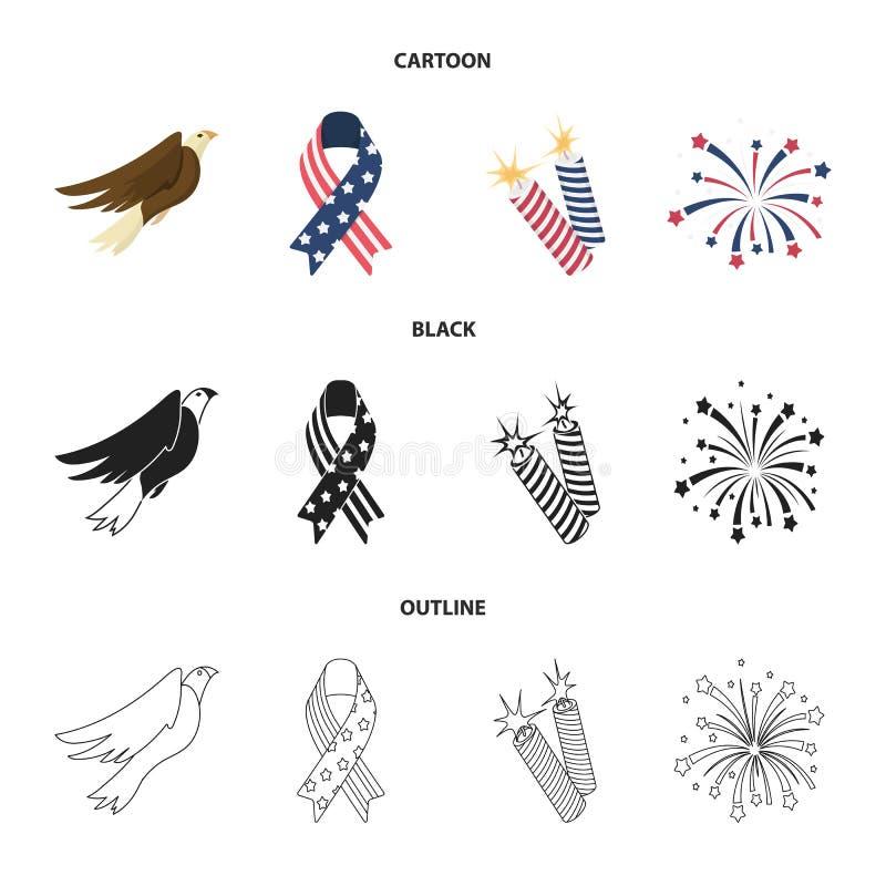 美国老鹰,丝带,致敬 在动画片,黑色,概述样式传染媒介标志股票的爱国者天集合汇集象 皇族释放例证