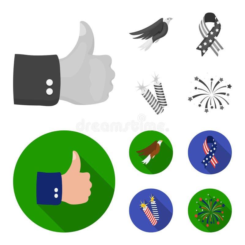 美国老鹰,丝带,致敬 爱国者天集合汇集象在单色,平的样式传染媒介标志库存 皇族释放例证