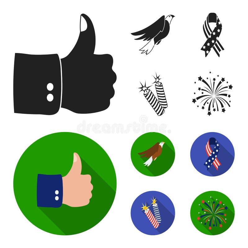 美国老鹰,丝带,致敬 爱国者天集合汇集象在黑,平的样式传染媒介标志库存 向量例证