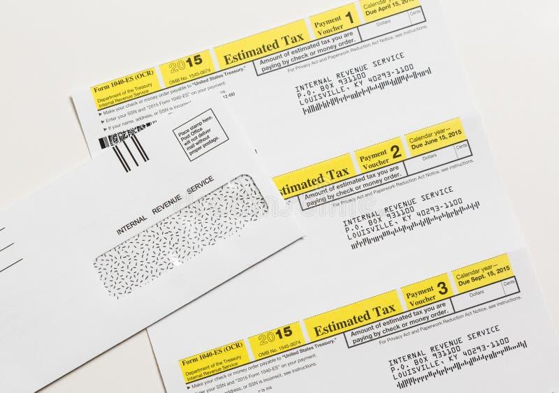美国联邦税务局报税表1040-ES 免版税图库摄影