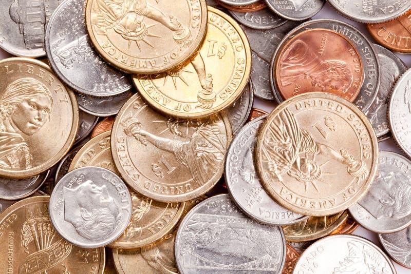 美国背景硬币 库存图片