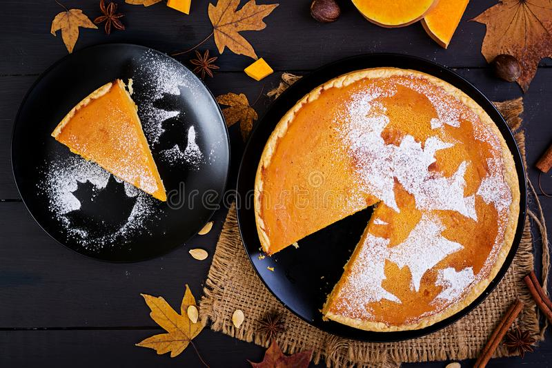 美国自创南瓜饼用桂香和肉豆蔻 库存照片