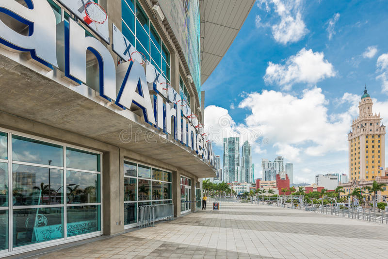 美国航空竞技场,迈阿密热浪队的家 库存图片