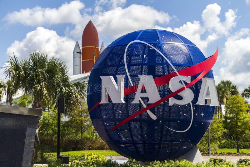 美国航空航天局肯尼迪航天中心入口 免版税库存图片