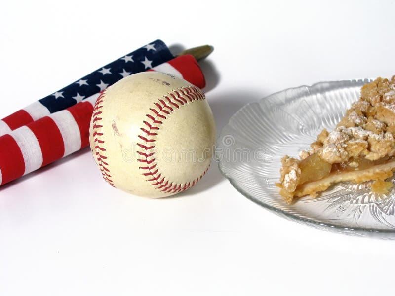 美国苹果作为棒球饼 免版税库存图片
