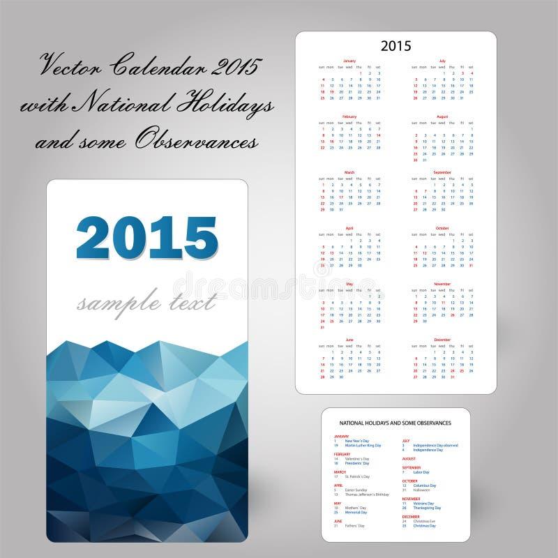 美国蓝色日历卡片2015年 皇族释放例证