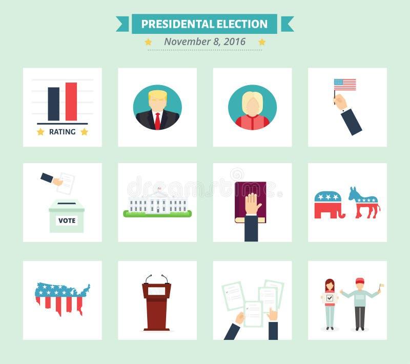 美国被设置的总统选举象 表决在平的样式的概念标志 向量例证