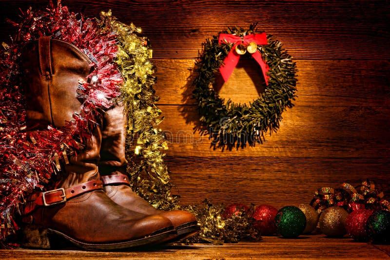 美国西方圈地牛仔靴圣诞卡 免版税库存图片