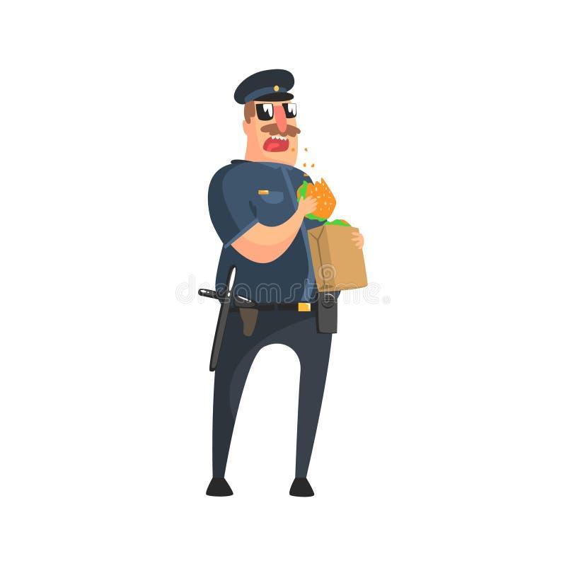 美国警察制服的警察有警棍、收音机、枪吃的手枪皮套和的太阳镜的从纸袋的午餐 向量例证