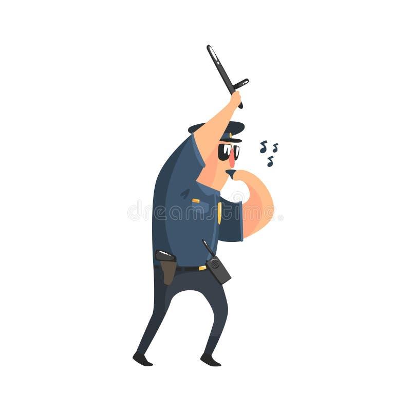 美国警察制服的警察有警棍、收音机,枪手枪皮套和太阳镜吹口哨的 库存例证
