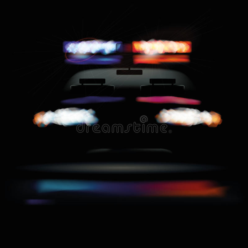 美国警车在晚上 皇族释放例证