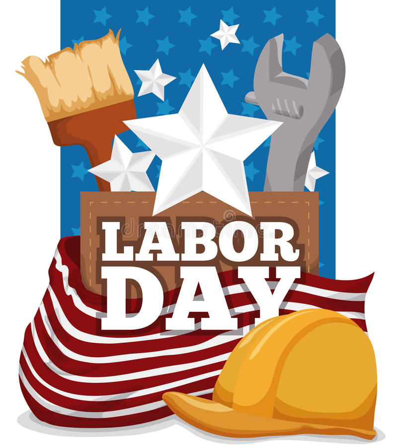 美国象和庆祝劳动节的工作者设备,传染媒介例证 皇族释放例证