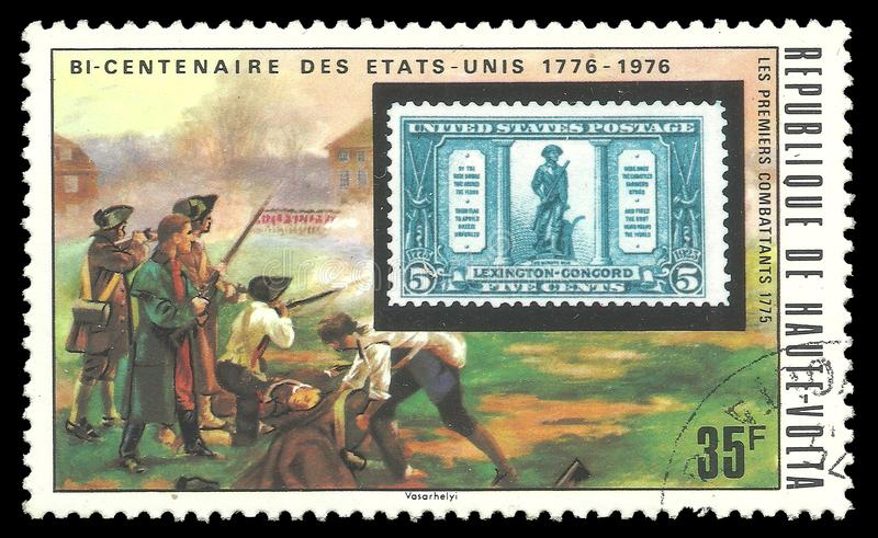 美国邮票和民兵 图库摄影