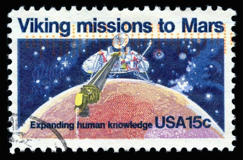 美国邮票对火星的北欧海盗使命 免版税图库摄影