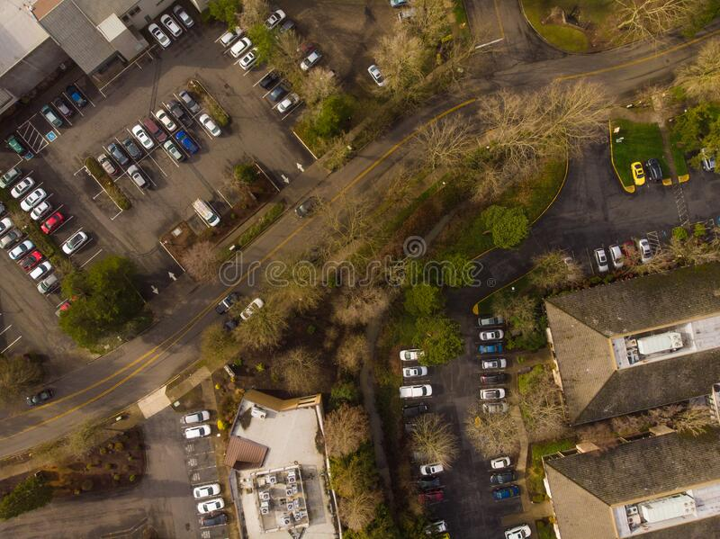 美国郊区,上方城市 图库摄影