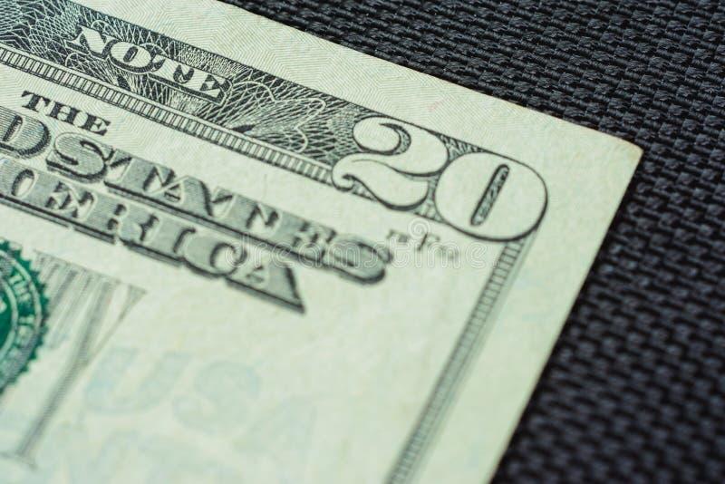 美国金钱关闭是二十美金,美国宏指令的二十美金片段 免版税库存图片