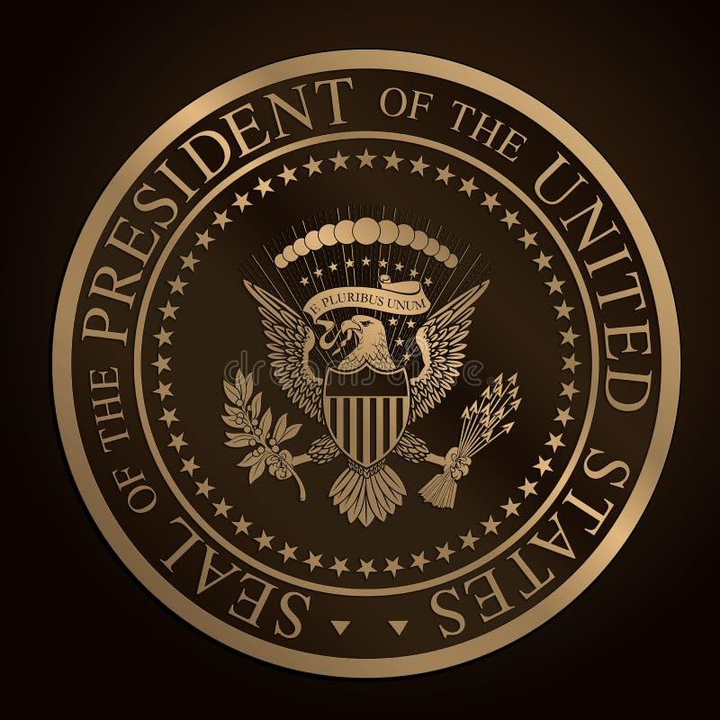 美国金黄总统封印装饰 向量例证