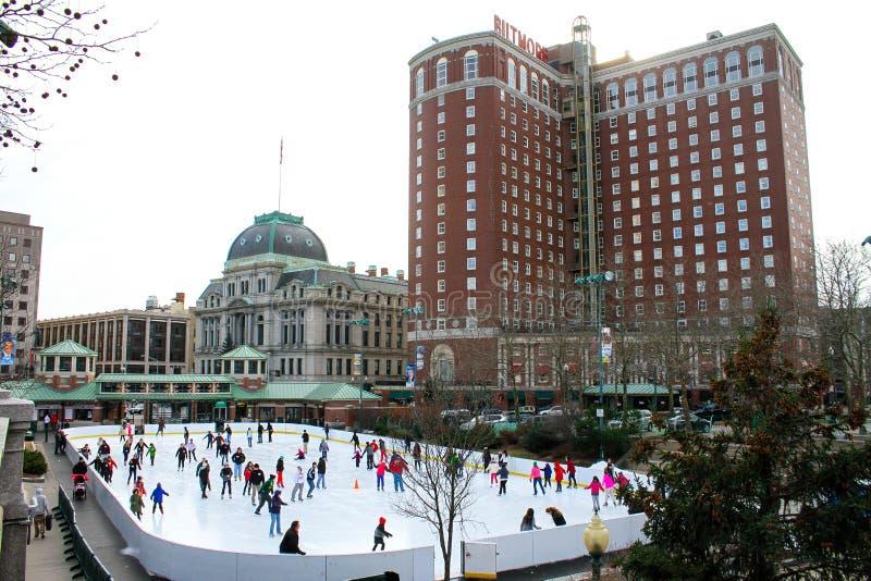 美国银行滑冰场,上帝, RI 免版税图库摄影