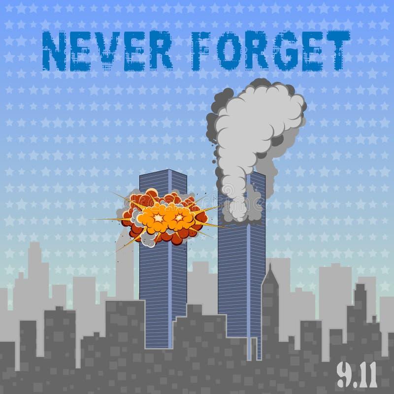 美国阵亡将士纪念日9月第9 爱国者天9 11 不要忘记 库存例证