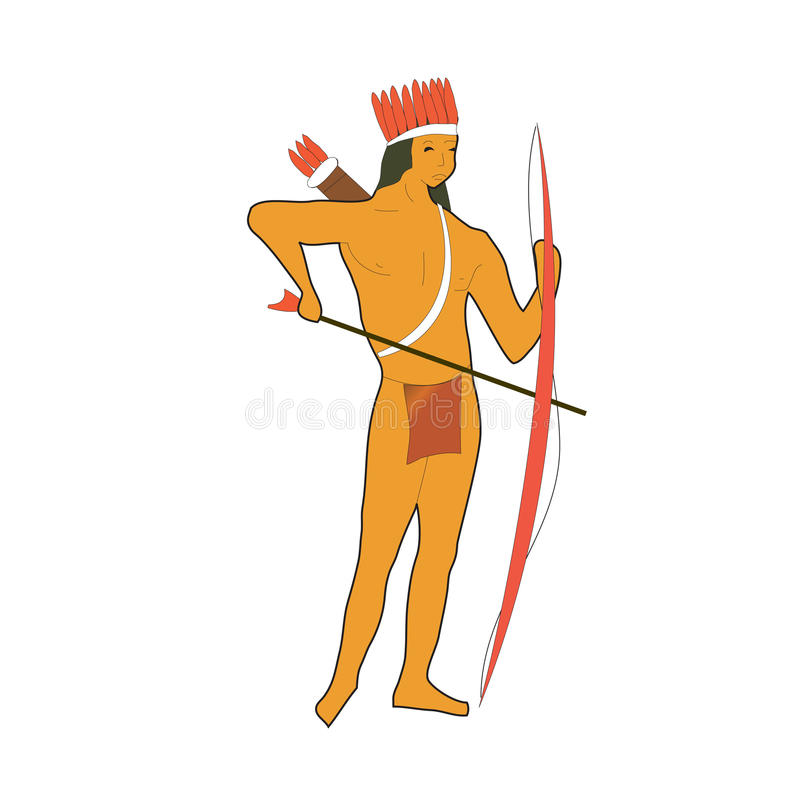 美国阿兹台克弓当地人 皇族释放例证