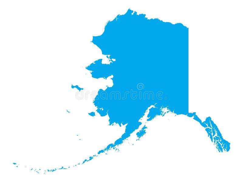 美国阿拉斯加州蓝色地图  向量例证