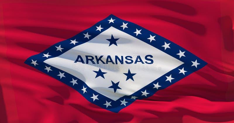 美国阿肯色州旗子报道整个框架,挥动的,被咬嚼的和现实看 3d?? 皇族释放例证