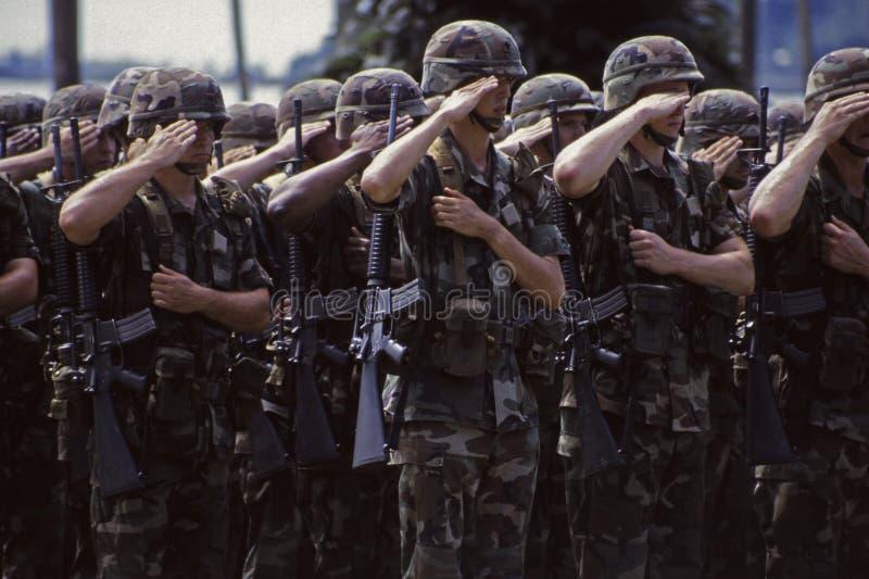 美国陆军战士向致敬 图库摄影