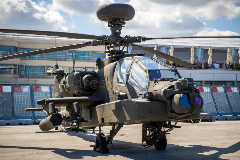 美国陆军波音AH-64E亚帕基监护人攻击用直升机 免版税库存照片