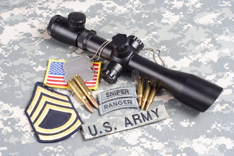 美国陆军背景有范围和权威的概念狙击手 库存照片