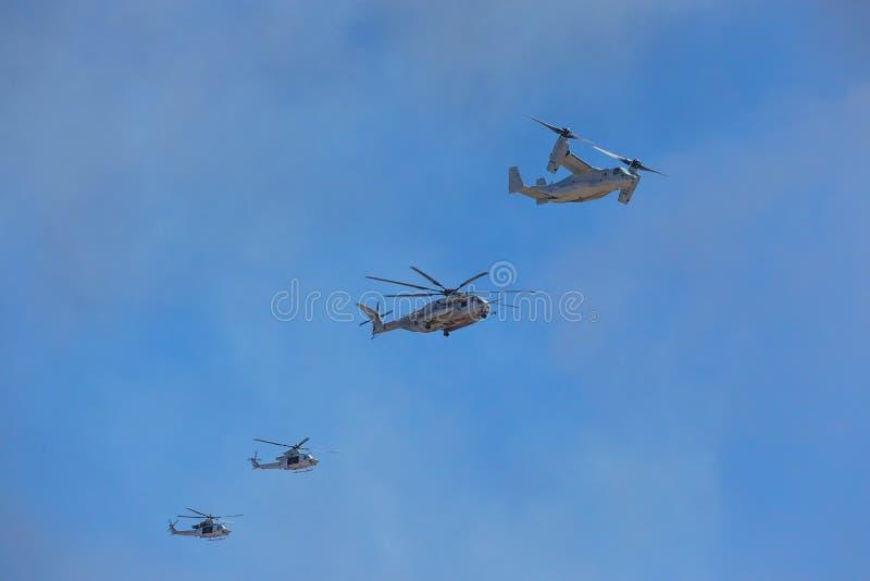 美国陆战队军事直升机 库存照片